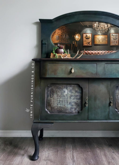 Furniture by Ignite Furnishings using Roycycled Grunge Numbers Decoupage Paper