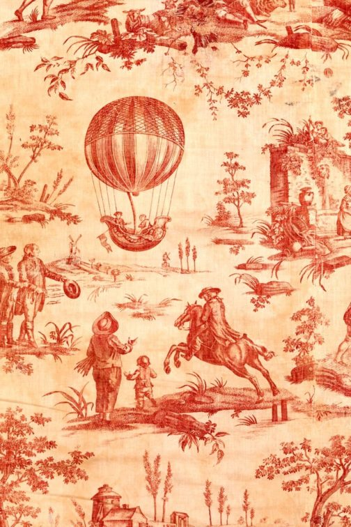 Roycycled Red Toile Decoupage Paper for furniture painting and crafts.