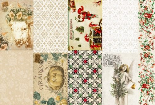 Roycycled Holiday Project Blocks Decoupage Paper for Craft Projects